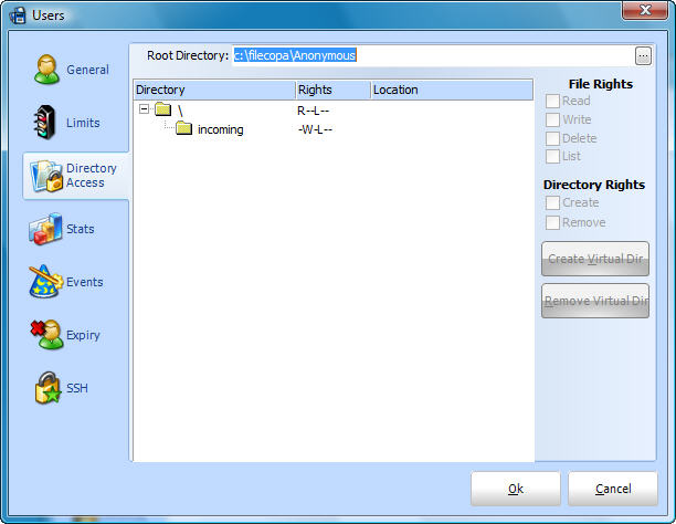FileCOPA FTP Server Software User Access Configuration Screen